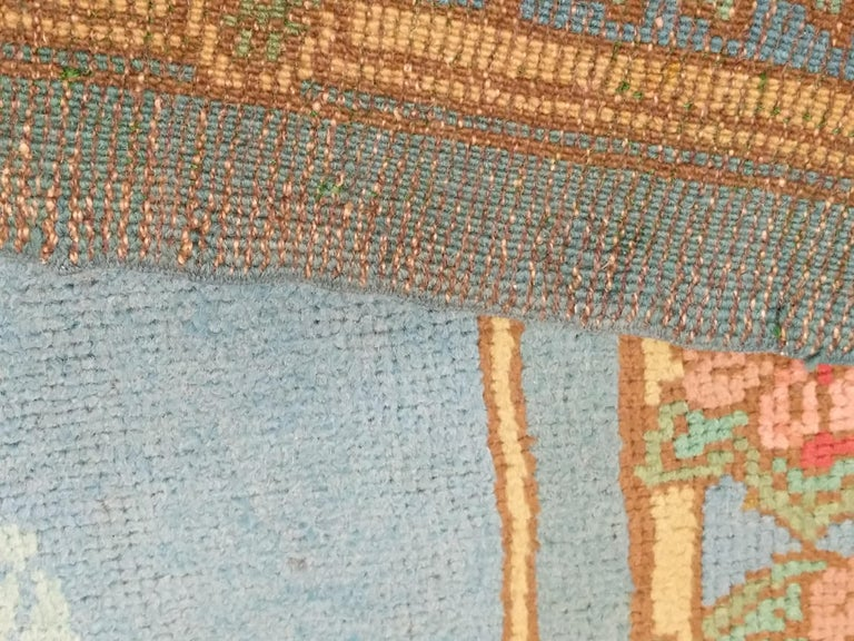 Arts & Crafts Donegal Light Blue Wool Rug Attributed to Gavin Morton, circa 1910 For Sale 5