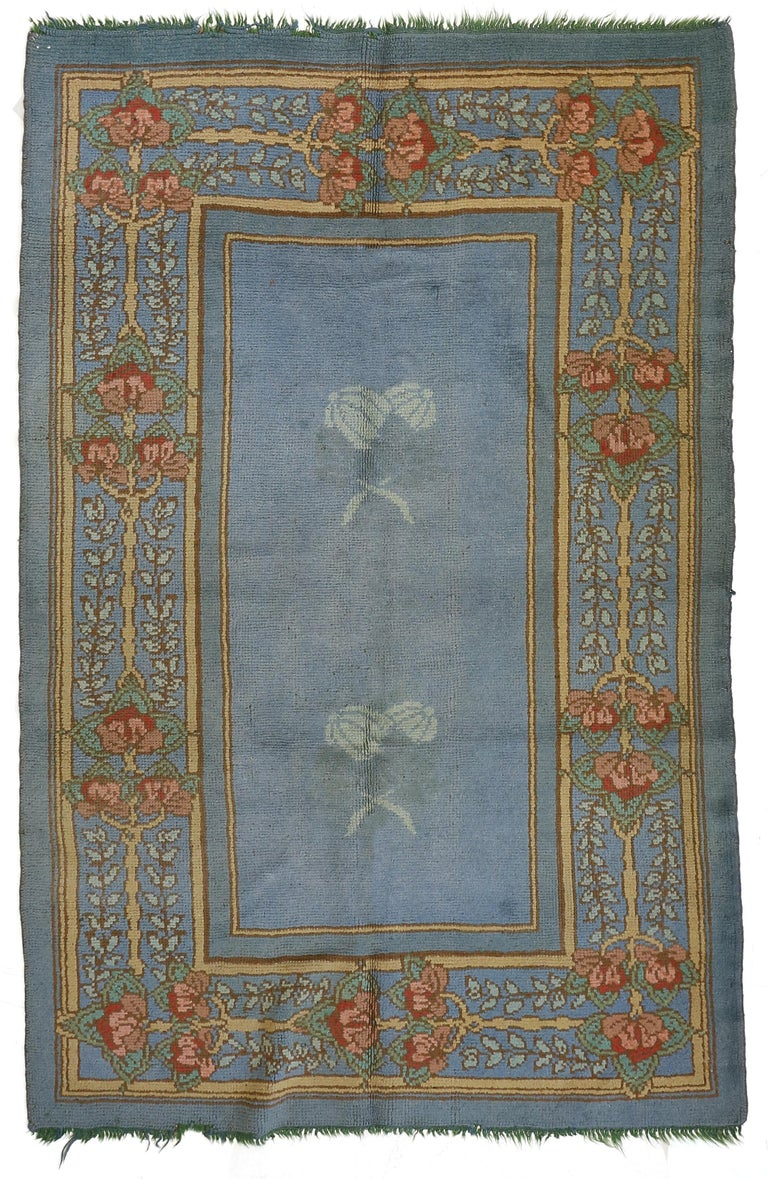 Hand-Knotted Arts & Crafts Donegal Light Blue Wool Rug Attributed to Gavin Morton, circa 1910 For Sale