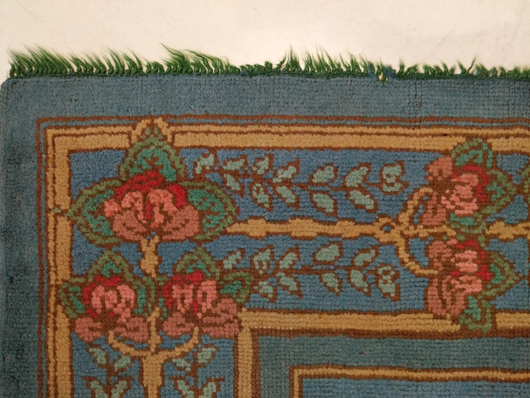 20th Century Arts & Crafts Donegal Light Blue Wool Rug Attributed to Gavin Morton, circa 1910 For Sale