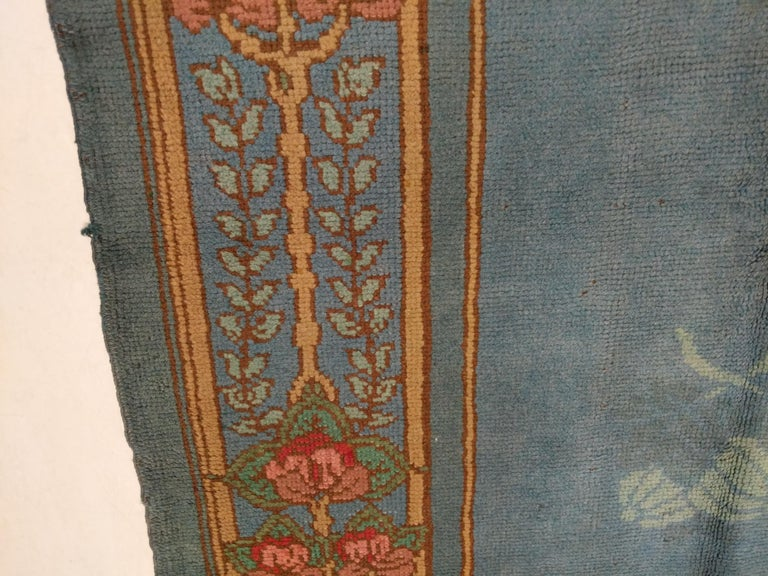 Arts & Crafts Donegal Light Blue Wool Rug Attributed to Gavin Morton, circa 1910 For Sale 1