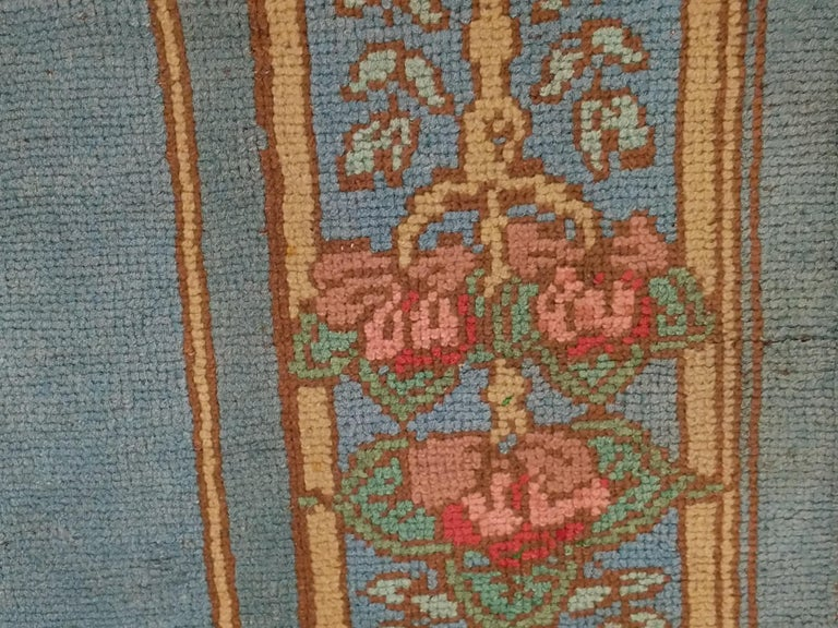 Arts & Crafts Donegal Light Blue Wool Rug Attributed to Gavin Morton, circa 1910 For Sale 2