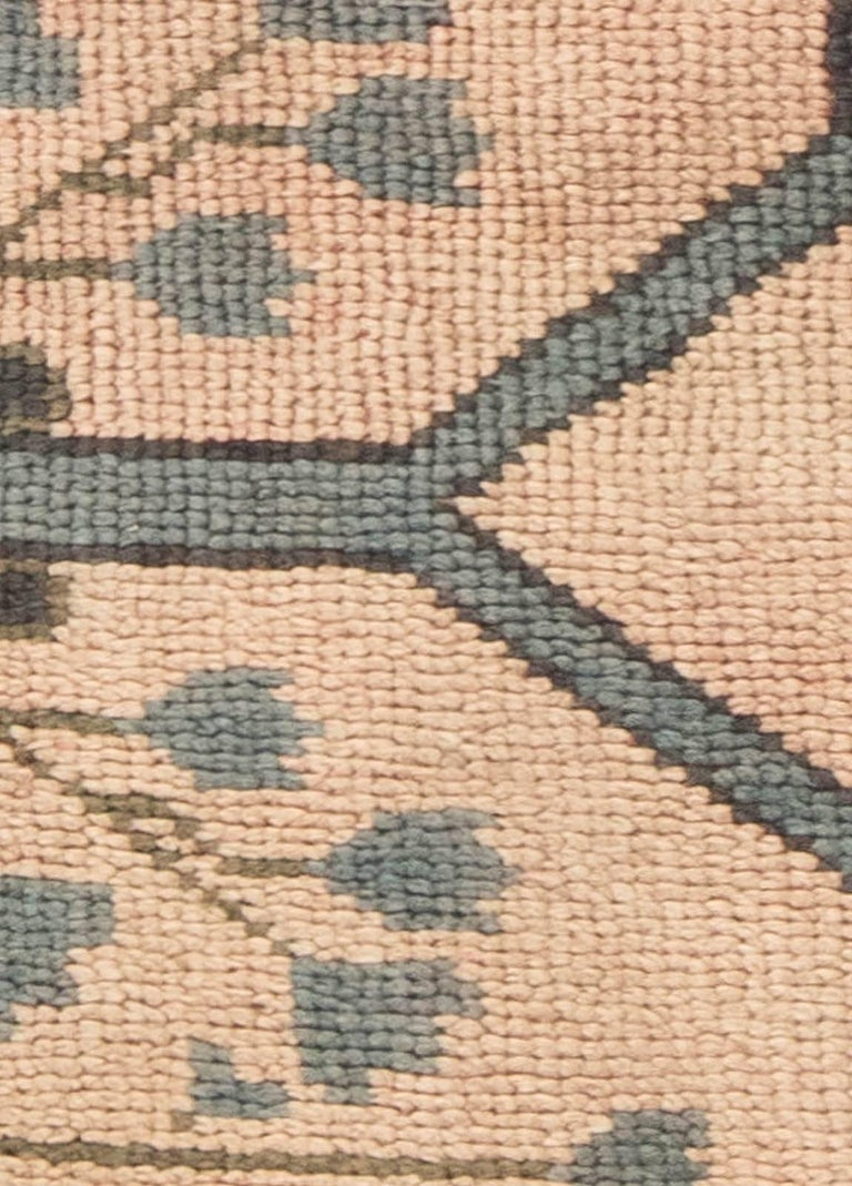 Early 20th century Arts & Crafts dusty pink, blue and taupe fragment rug by Gavin Morton Size: 3'3