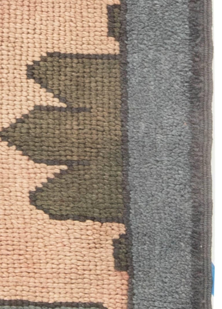 Arts and Crafts Arts & Crafts Dusty Pink, Blue and Taupe Fragment Rug by Gavin Morton For Sale