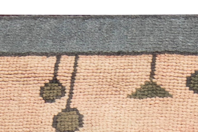 British Arts & Crafts Dusty Pink, Blue and Taupe Fragment Rug by Gavin Morton For Sale