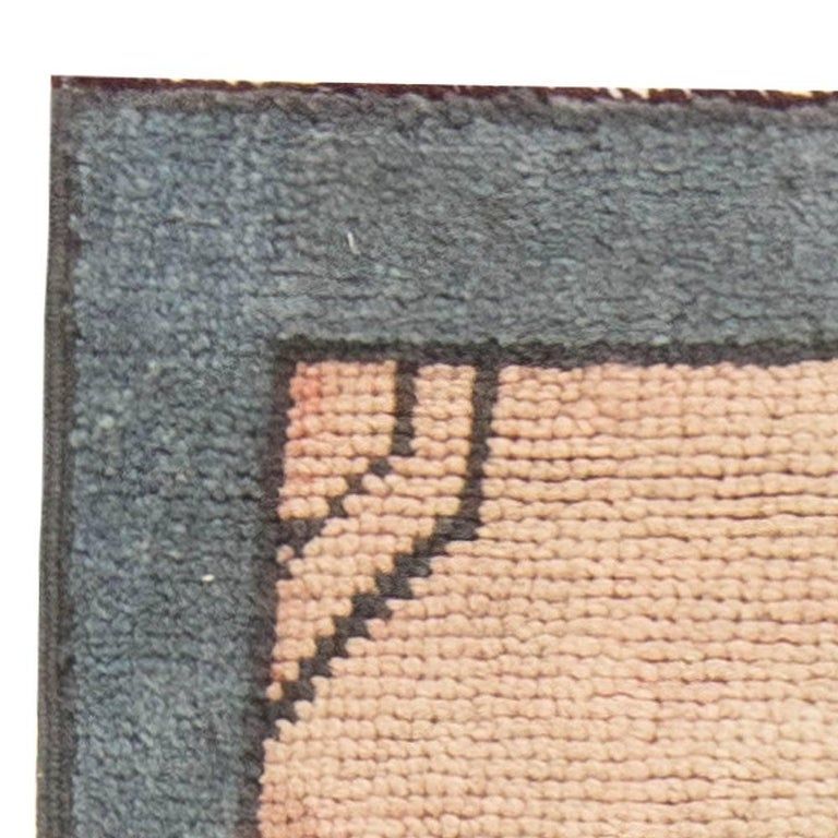 Hand-Knotted Arts & Crafts Dusty Pink, Blue and Taupe Fragment Rug by Gavin Morton For Sale