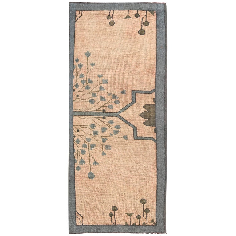Arts & Crafts Dusty Pink, Blue and Taupe Fragment Rug by Gavin Morton For Sale