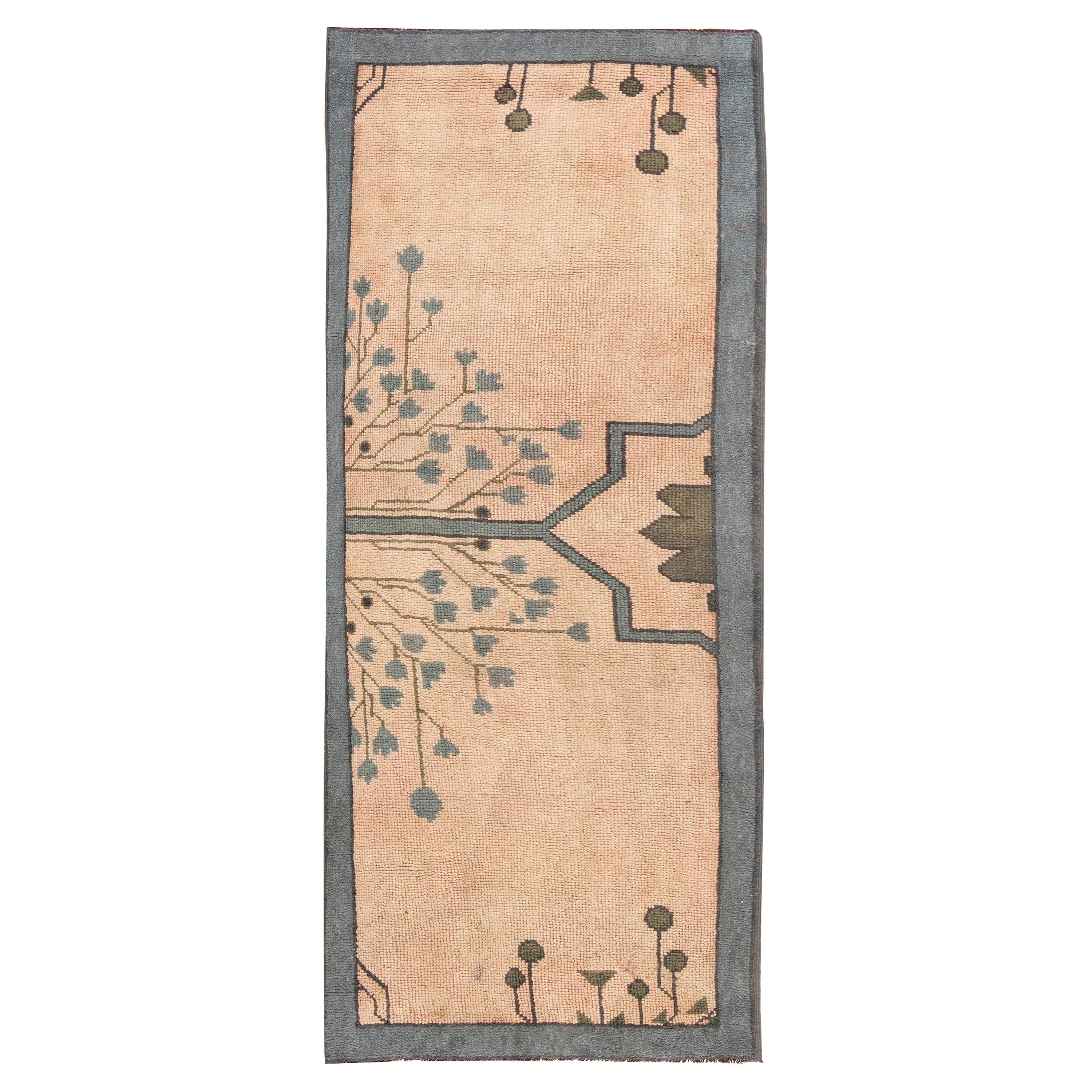 Arts & Crafts Dusty Pink, Blue and Taupe Fragment Rug by Gavin Morton