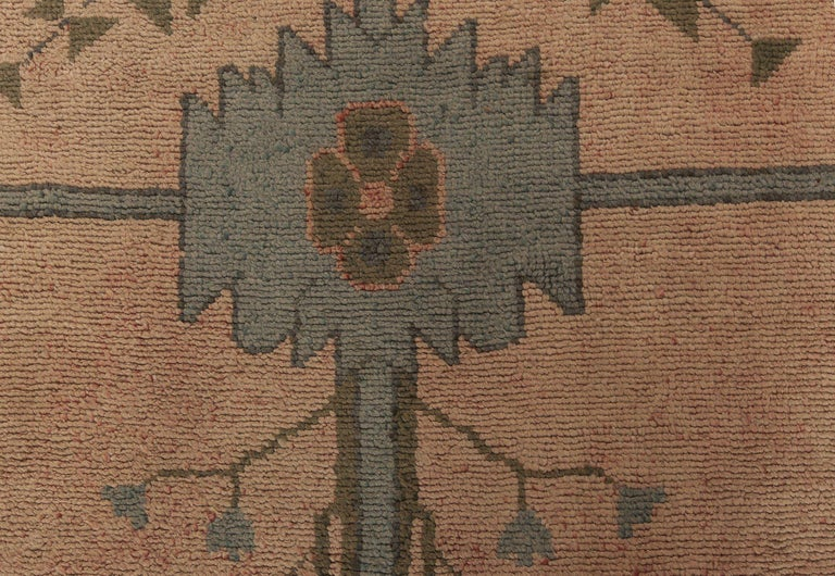Arts & Crafts dusty pink, blue and taupe wool rug by Gavin Morton 'size adjusted'
