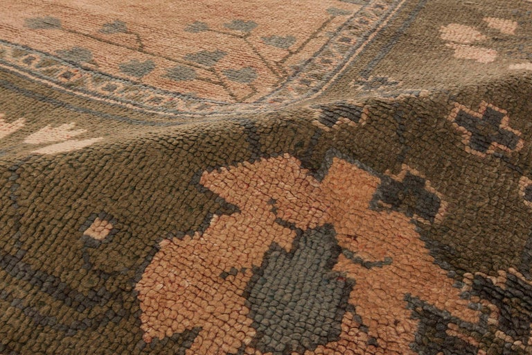 Arts and Crafts Arts & Crafts Dusty Pink, Blue & Taupe Wool Rug by Gavin Morton 'Size Adjusted' For Sale