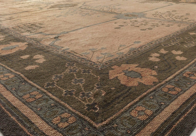 English Arts & Crafts Dusty Pink, Blue & Taupe Wool Rug by Gavin Morton 'Size Adjusted' For Sale