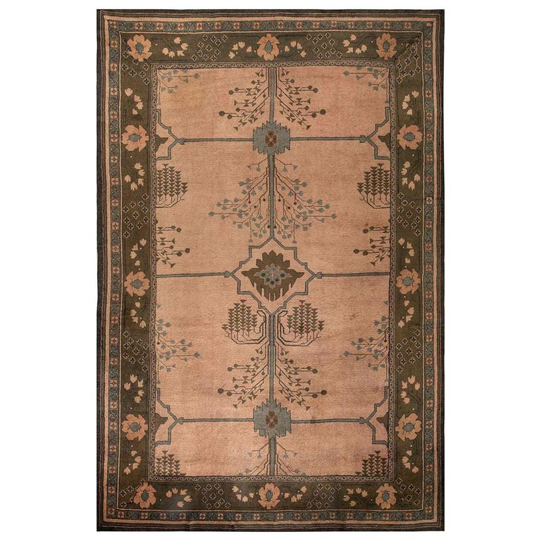 Arts & Crafts Dusty Pink, Blue & Taupe Wool Rug by Gavin Morton 'Size Adjusted' For Sale