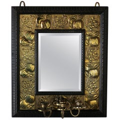 Arts & Crafts Ebonized Mahogany & Brass Mirror, Attributed to Shapland & Petter
