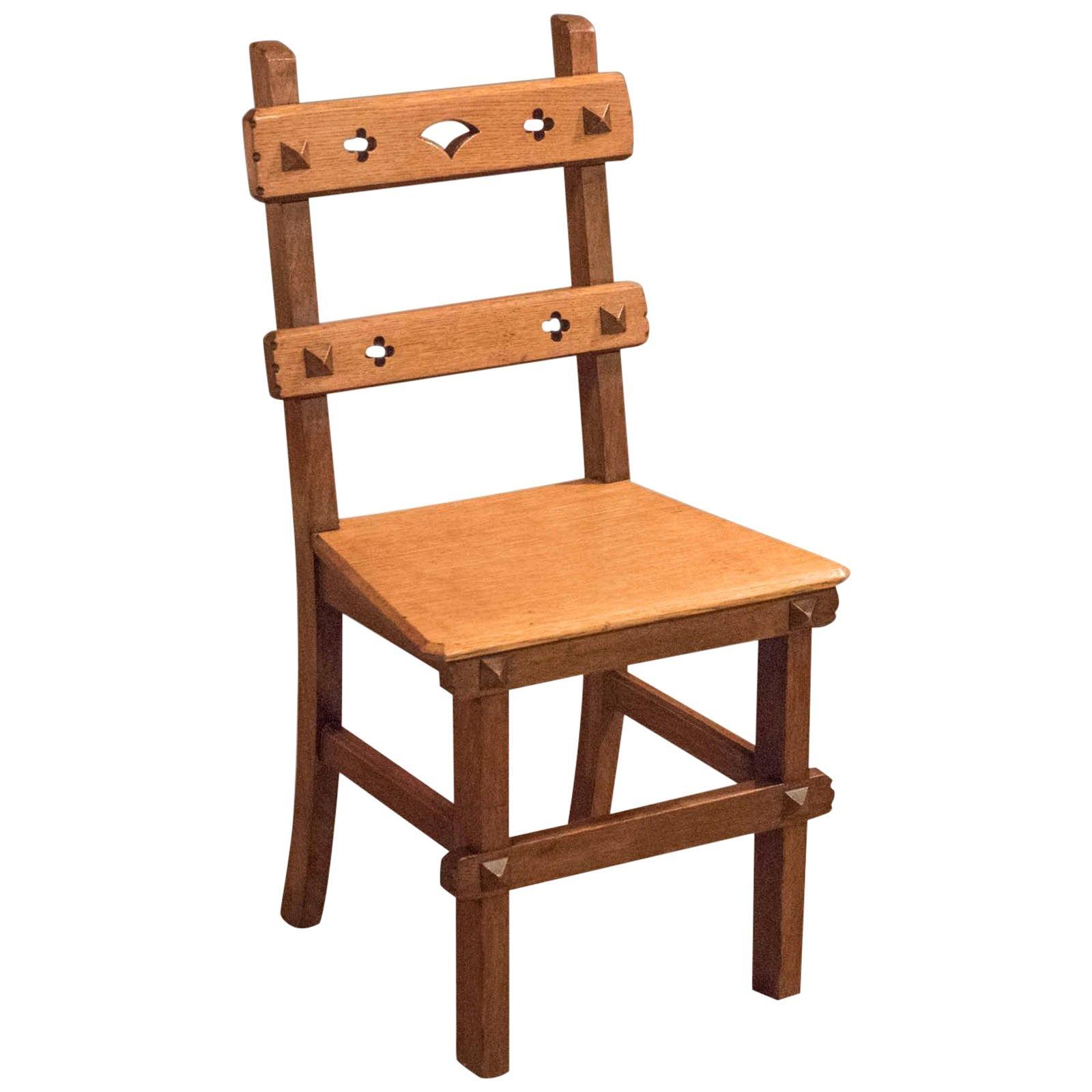 Arts & Crafts English Oak Antique Chair, circa 1900