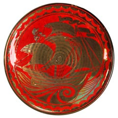 Arts & Crafts English Pilkington Flambé & Gilt Art Pottery Charger, 20th Century