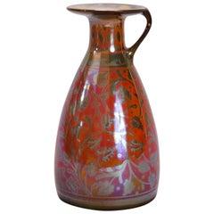 Arts & Crafts English Pilkington Flambé Glazed and Gilt Art Pottery Ewer