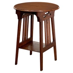 Arts & Crafts Era Round Occasional Table of Oak from England
