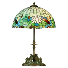 Arts & Crafts Figural Griffin Lamp by Handel & Mosaic Stained Glass Shade, c1920
