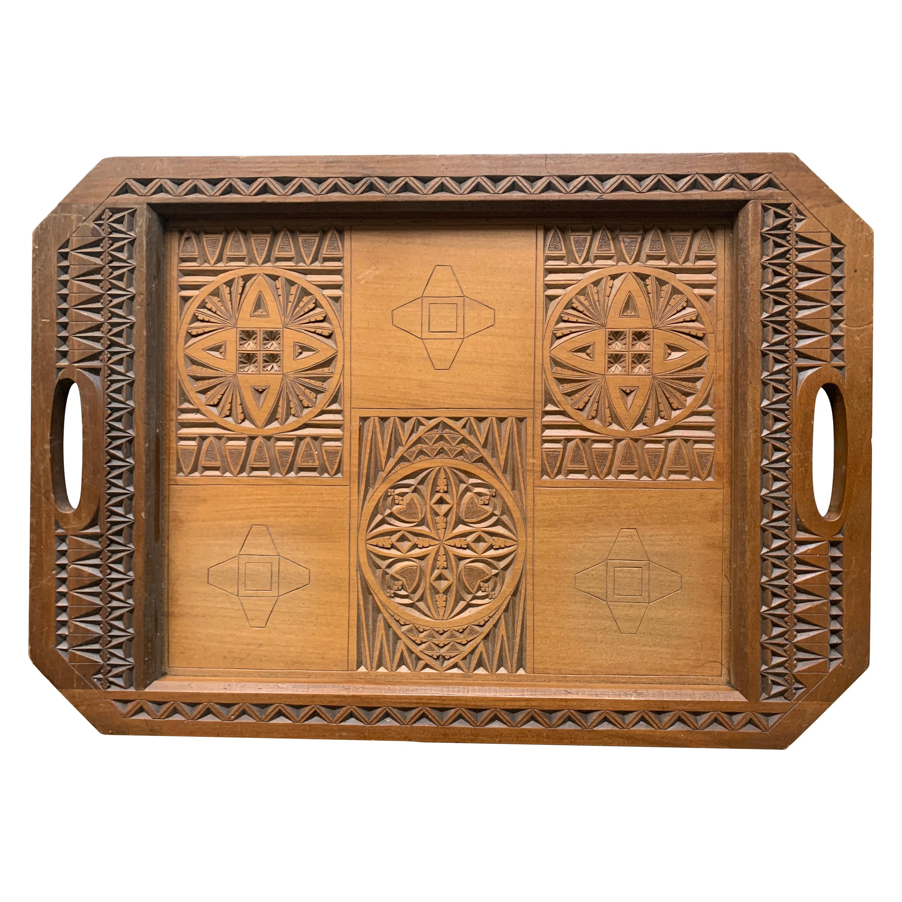Arts & Crafts Folk Art Serving Tray with Hand Carved Geometric Motifs