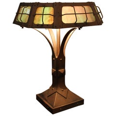 Arts & Crafts Forged Iron Lamp with Stained Glass