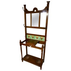 Arts & Crafts Foyer Coat and Hat Rack Cum Umbrella Stand with Tile Work