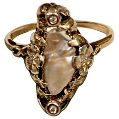 Arts & Crafts Freshwater Pearl and Diamond Floral Motif 14 Karat Gold Ring