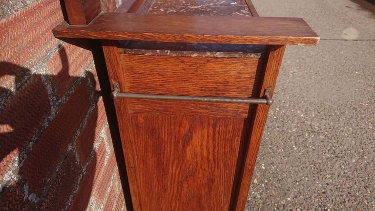 Arts and Crafts Arts & Crafts Gentleman's Oak Wash or Shaving Stand with Purple Marble For Sale