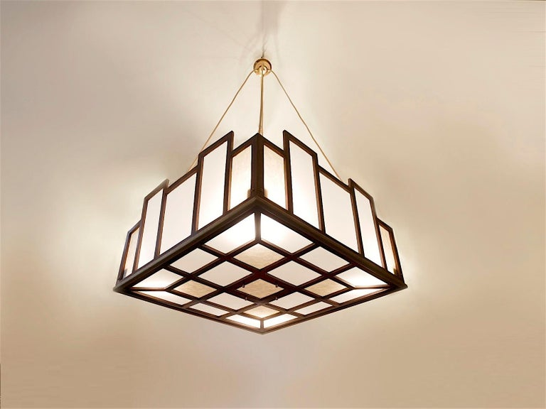 Arts & Crafts Geometrical Wood Pendant Lamp For Sale 10
