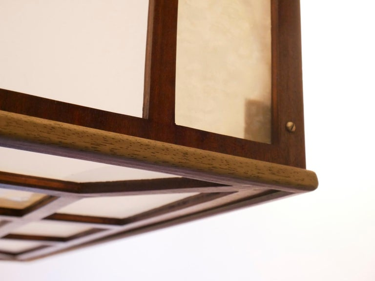 Arts & Crafts Geometrical Wood Pendant Lamp In Good Condition For Sale In Brussels, Ixelles