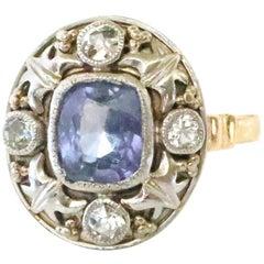 Arts & Crafts GIA No Heat Ceylon Step Cut Sapphire Diamond 14 Karat Gold Ring