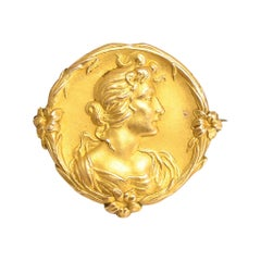 Arts & Crafts Gold Lady Brooch