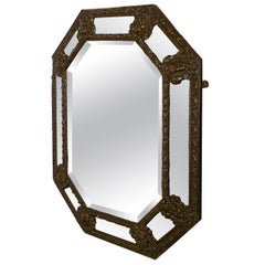 Arts & Crafts Gothic Brass Cushion Mirror