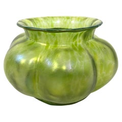 Arts & Crafts Green Glass Flower Vase in the Manner of Tiffany