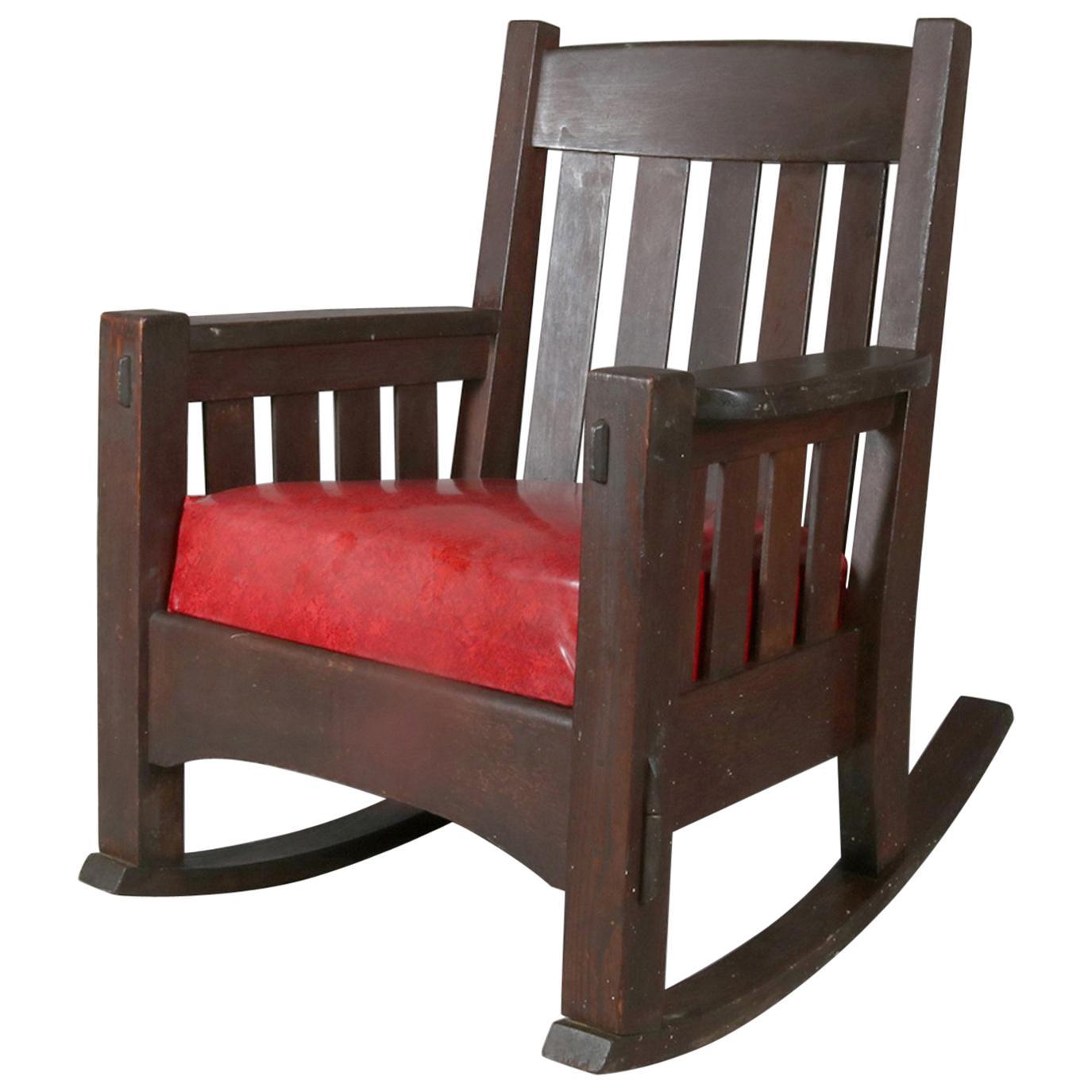 Merveilleux Arts U0026 Crafts Gustav Stickley School Mission Oak Rocking Chair By Harden  For Sale