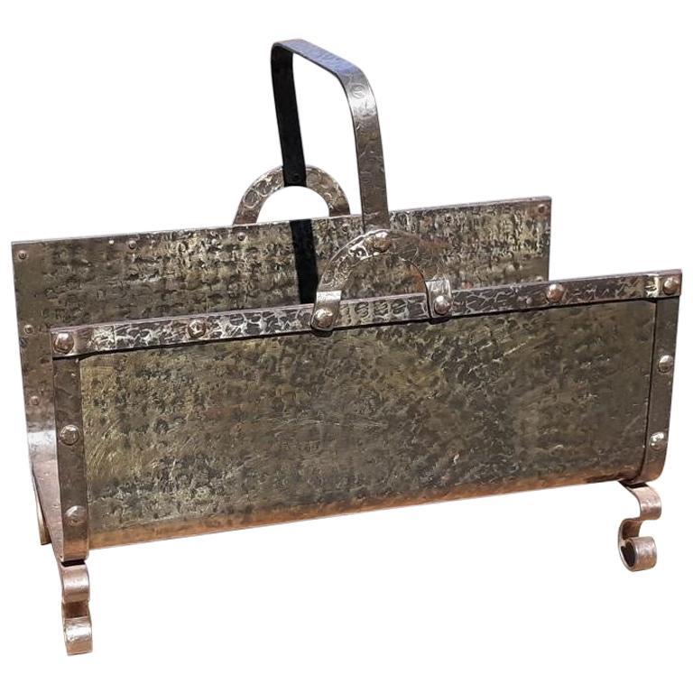 Arts & Crafts Hand Hammered Iron Log Holder