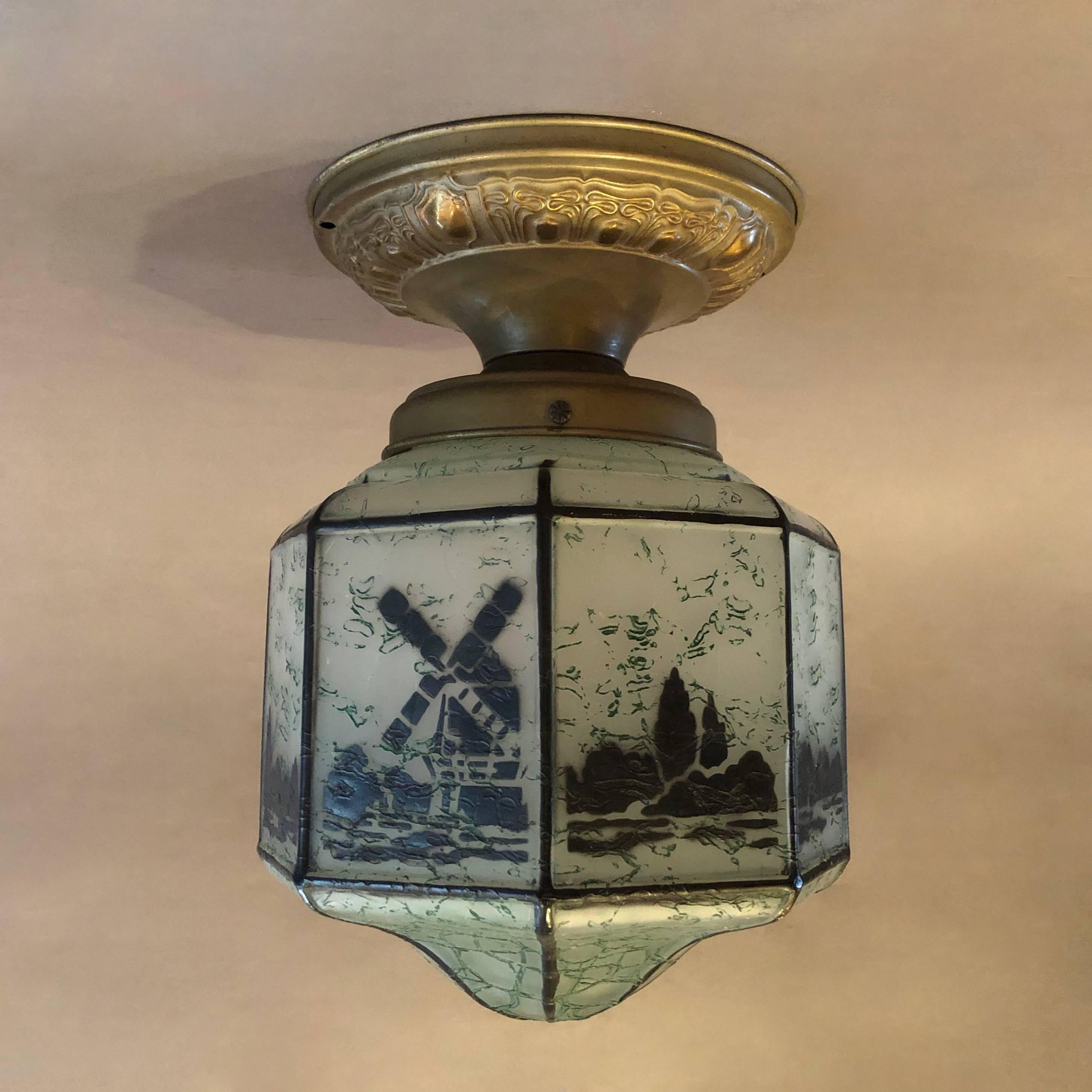 Arts and Crafts Hand-Stencilled Octagonal Flush Mount Ceiling ...