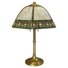 Arts & Crafts Handel Brothers Polychromed Paneled Bent Slag Glass Lamp