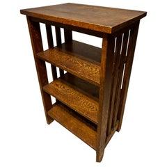 Arts & Crafts Handmade Dark Oak Compact 3 Tiered Bookshelf