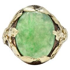 Arts & Crafts Jade 14 Karat Green Gold Floral Ring