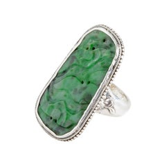 Carved Jade Ring from Arts & Crafts Period