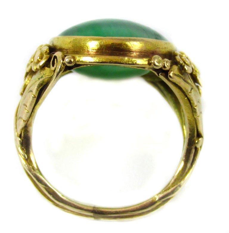 Arts and Crafts Arts & Crafts Jadeite Gold Ring For Sale