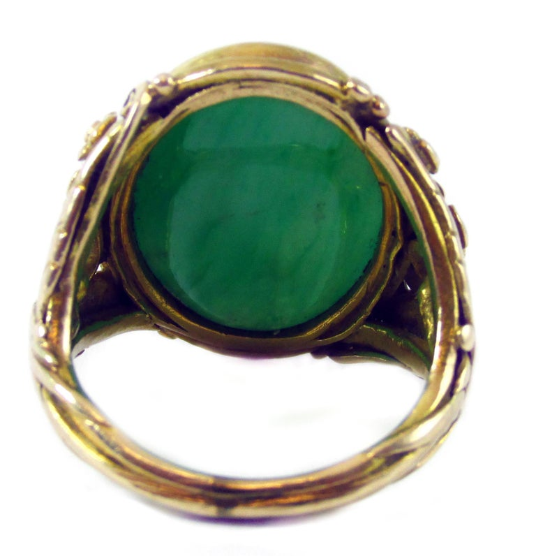 Arts & Crafts Jadeite Gold Ring In Excellent Condition For Sale In New York, NY