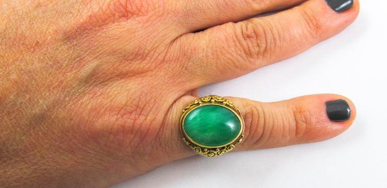 Women's or Men's Arts & Crafts Jadeite Gold Ring For Sale