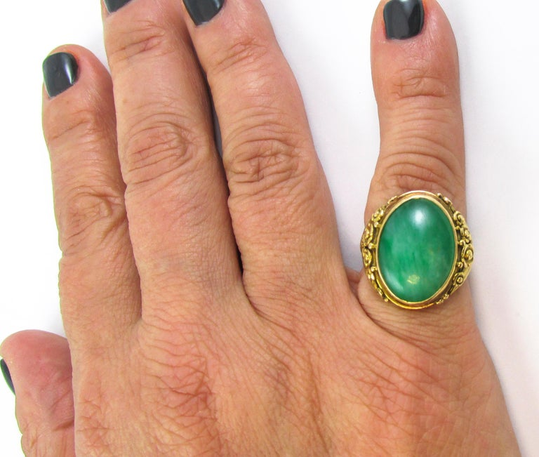 Arts & Crafts Jadeite Gold Ring For Sale 1