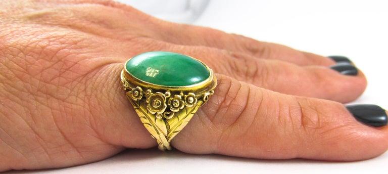 Arts & Crafts Jadeite Gold Ring For Sale 2