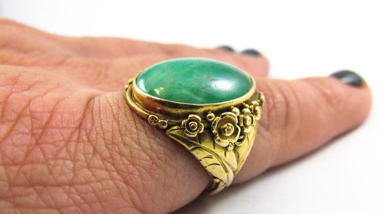 Arts & Crafts Jadeite Gold Ring For Sale 3