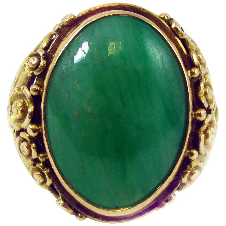 Arts & Crafts Jadeite Gold Ring For Sale