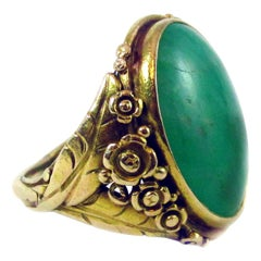 Arts & Crafts Jade Yellow Gold Flower Ring