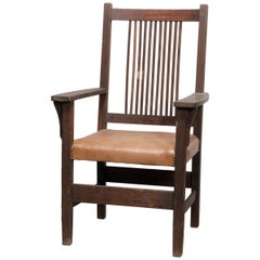Arts & Crafts L & J G Stickley Mission Spindle Back Armchair, circa 1910