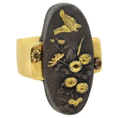 Arts & Crafts Large Shakudo Plaque Ring with Flower and Butterfly Motif