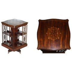 Arts & Crafts Late Victorian Antique Revolving Bookcase Hardwood & Walnut Inlaid